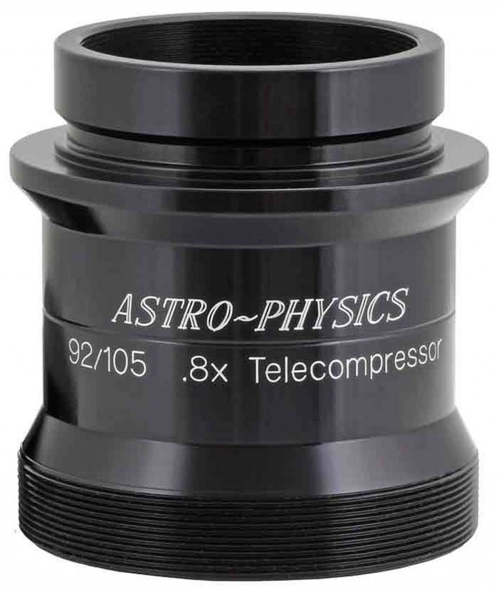 "Astro-Physics 0.8x CCD Telecompressor for 92mm Stowaway and 105mm Traveler. Requires 2.5"" DoveLoc End Cap that comes with 92mm F6.65 Stowaway or EC2725 for Traveler"